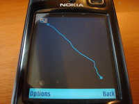 Nokia Sports Tracker S60 application - Speed vs Distance graph