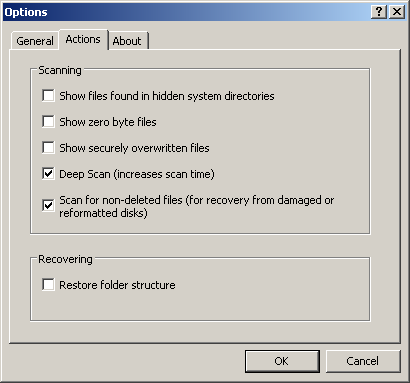 recuva scanning options