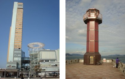 takamatsu harbour sunport and lighthouse