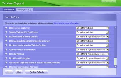 trusteer rapport advanced configuration