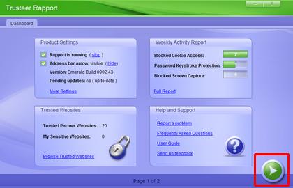 trusteer rapport green button