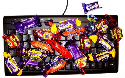 mini keyboard and cadbury sweets