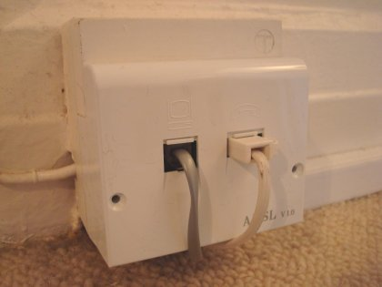 bt master socket with adsl faceplate and cables