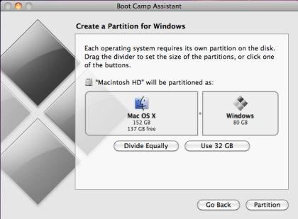 boot camp partition screen