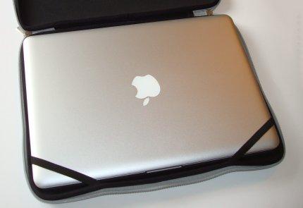 macbook pro in sleeve